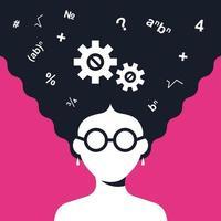 garota inteligente resolve um problema de matemática. ilustração em vetor personagem plana.