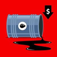 queda dos preços do petróleo. seta para baixo dólar. ilustração vetorial plana. vetor