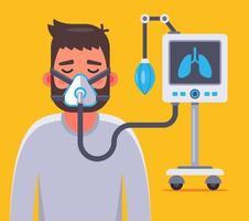 ventilação dos pulmões de uma pessoa doente com coronavírus. ilustração em vetor personagem plana.