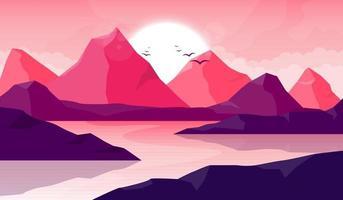 ilustração do projeto do vetor do fundo da bela paisagem da montanha