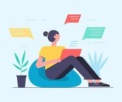 mulher bonita está sentada em seu laptop e conversando. ilustração vetorial, estilo simples, empresários discutem rede social, notícias, redes sociais, bate-papo. vetor