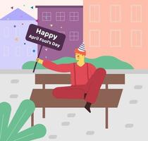 dia da Mentira. o palhaço divertido. ilustração vetorial. palhaço alegre se divertindo e comemorando o dia do tolo vetor