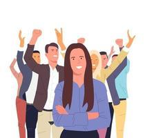 equipe de sucesso com trabalhadores felizes. trabalho em equipe, equipe, cooperação, coworking, conceito de cooperação. vetor