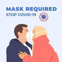 casal feliz beijando com máscaras. coronavírus, covid, ncov, stop, conceito de proteção de saúde. proteção da ilustração do coronavírus. quarentena médica. saúde preventiva segurança vetor