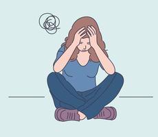 depressão, fadiga, estresse mental, conceito de frustração. jovem depressão frustrada mulher ou adolescente adolescente sentado no chão em casa. fadiga, aumento do estresse mental devido a dores de cabeça ou más notícias. vetor