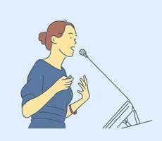 conceito de mulher de negócios ou gerente. mulher de negócios jovem, chefe da empresa, chefe do líder recostando-se e pensando no projeto. vetor