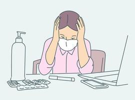cuidados de saúde, quarentena, proteção, conceito de infecção por coronavírus. garota jovem doente com máscara médica, sentado em isolamento em quarentena. vetor