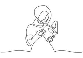 contínuo um desenho de linha de menina hijab lendo um livro. jovem mulher bonita no lenço de véu em pé enquanto olha a página do livro na biblioteca. estudo muslimah mulher isolada no fundo branco vetor