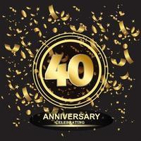 Vetor de modelo de logotipo de aniversário de 40 anos
