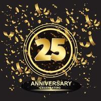 Vetor de modelo de logotipo de aniversário de 25 anos