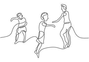 feliz salto crianças contínuas um desenho de linha. crianças brincam no playground alegremente isolado no fundo branco. jogando ativamente criança com uma mão desenhada estilo minimalista