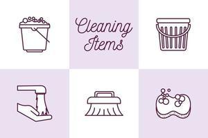 conjunto de ícones de serviço de limpeza