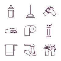 conjunto de ícones de serviço de limpeza vetor