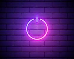 botão liga / desliga ícone de ui ux de néon brilhante azul. Vetor de logotipo de sinal brilhante isolado na parede de tijolos