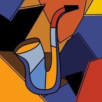 instrumento de música jazz saxofone padrão de fundo geométrico abstrato colorido. saxofone para instrumento clássico minimalismo estilo de arte cubismo. ilustração em vetor música contemporânea