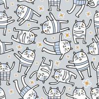 gato engraçado em pose de ioga diferente. personagem de desenho animado de animais fofos saudáveis. estampas de moda na moda, artigos de papelaria de animais, embrulhos de presentes de amigos felinos, papel de parede. padrão sem emenda de vetor
