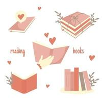ilustração em vetor design plano legal na leitura de livros e livros abertos e fechados. projeto de conceito de conhecimento, aprendizagem e educação