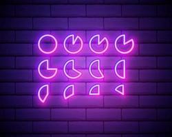 Ícone de infográfico gráfico de pizza de linha de néon brilhante isolado no fundo da parede de tijolo. sinal gráfico do diagrama. ilustração vetorial vetor