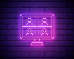 ícone de entrevista online. elementos de entrevista em ícones de estilo neon. ícone simples para sites, web design, aplicativo para dispositivos móveis, gráficos de informações isolados na parede de tijolos vetor