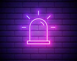 ícone de contorno de alarme de sirene. elementos de segurança em ícones de estilo neon. ícone simples para sites, web design, aplicativo para dispositivos móveis, gráficos de informações isolados na parede de tijolos vetor