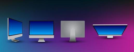 computador desktop 3d realista maquete. quadro de computador desktop com modelos de exibição em branco, diferentes ângulos de visão. vetor