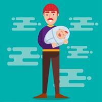 jovem papai segurando uma ilustração de bebê em estilo simples