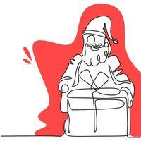 contínua uma linha de papai noel no natal. em pé de Papai Noel com caixa de presente nas mãos, isolado no fundo branco. conceito de férias. casar com o tema de Natal e feliz ano novo. ilustração vetorial