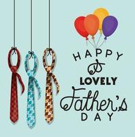 banner de celebração do dia dos pais com desenho vetorial de balões e gravatas vetor