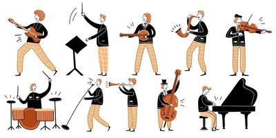 elemento plano de tocadores de música clássica. vetor