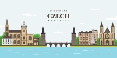 uma vista da absolutamente linda praga, república checa. beleza panorama paisagem colorida da cidade velha de Praga com o marco histórico do edifício. viagens e turismo pelo mundo, pôster de viagem vetor