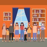 família inter-racial usando máscaras em casa vetor