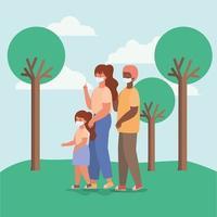 família inter-racial com máscaras faciais em desenho vetorial de parque vetor