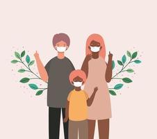 mãe, pai e filho com máscaras e folhas de desenho vetorial vetor