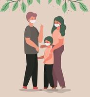 mãe pai e filho com máscaras e folhas de desenho vetorial vetor