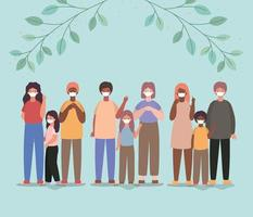família inter-racial usando máscaras faciais vetor