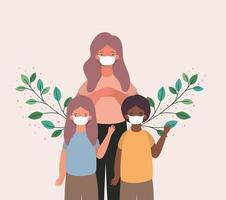 mãe, filho e filha inter-raciais com máscaras e folhas de desenho vetorial vetor