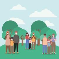 família inter-racial usando máscaras ao ar livre vetor