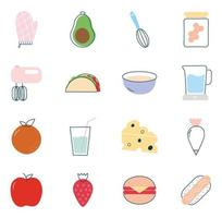 conjunto de ícones de estilo simples de alimentos design de vetor