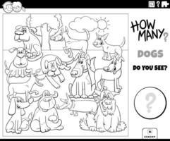 contando cães jogo educativo para crianças colorir livro vetor