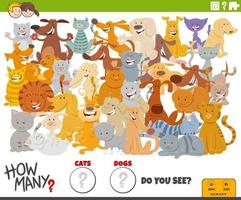 jogo educativo de quantos cães e gatos para crianças vetor
