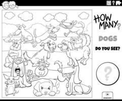 contando cães tarefa educacional para crianças colorir livro vetor