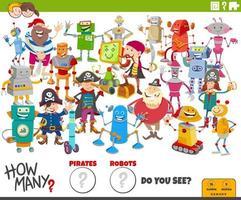 quantos robôs de desenho animado e piratas tarefa educacional vetor