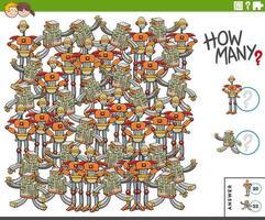 Contando robôs de desenhos animados - tarefa educacional para crianças vetor