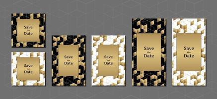 cartão de convite desenho geométrico dourado e preto elegante com modelo de design de vetor de quadro