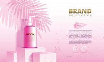 Suporte de pódio em mármore rosa para exibição de produtos cosméticos e cremes para a pele com ilustração vetorial de fundo e embalagem 3D vetor