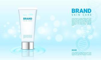 água azul e fundo bokeh para produtos cosméticos com ilustração vetorial de embalagem 3D vetor