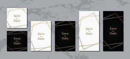 cartão de convite de casamento, couro preto e branco de luxo com moldura de ouro vetor