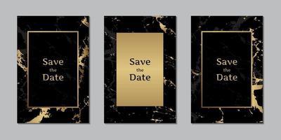 cartões de convite de casamento com textura de mármore preto e dourado com modelo de moldura