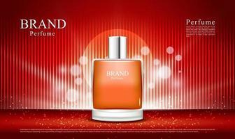 fundo vermelho de luxo e iluminação para anúncios de perfume e cosméticos com ilustração em 3D do frasco vetor