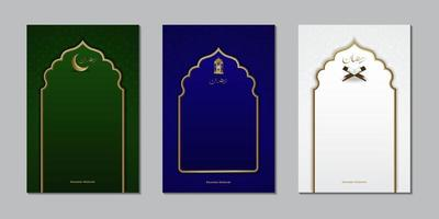 cartão de felicitações para o festival do ramadã com modelo de símbolos islâmicos vetor